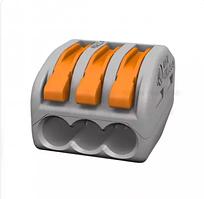 Клемма соединительная лепестковая универсальная тройная (зажим проводов сечением 0.08 - 4 кв. мм, 32А)