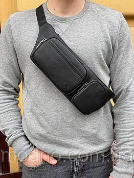 Чоловіча шкіряна зручна поясна сумка бананка на пояс і через плече H. T. Leather