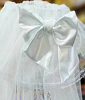 Балдахин в детскую кроватку универсальный белый с атласным бантом. Размер:3 х 1,5 метра Евросетка