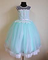 Нарядное бальное платье на девочку 5-7 лет пышное детское, бирюзового оттенка, фото 1