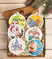 Новогодние игрушки на елку набор 6 шт, круглые экологичные деревянные украшения на новый год
