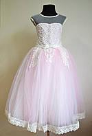 Нарядное бальное платье на девочек 5-7 лет пышное детское, бледно-розового цвета, фото 1