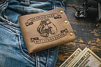 Мужской кожаный кошелек ТатуНаКоже, бокс мужское кожаное портмоне