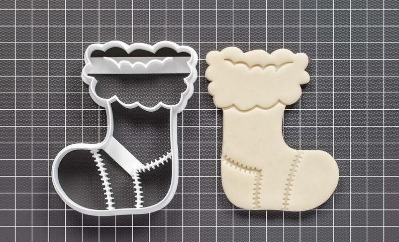 Новорічна 3D формочка різдвяний носок | Новорічна вирубка | Вирубка для печива новорічна