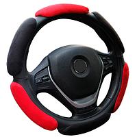 Оплетка (чехол) на руль из 3D замша Dragon (36-39 размер, 3D 14 замш, черно - красная