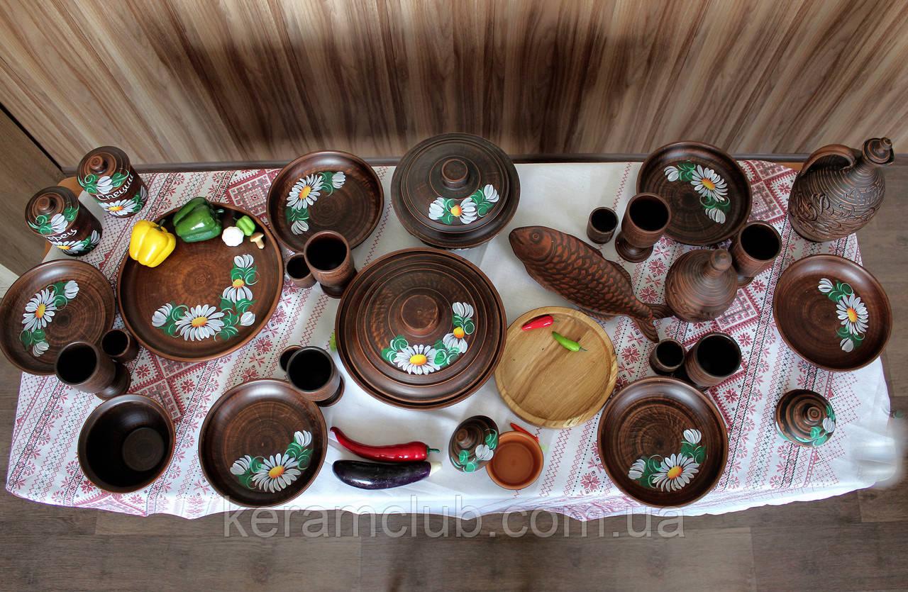 """Набор глиняной посуды на 6 персон Ромашка №12 """"Для жаркого"""""""