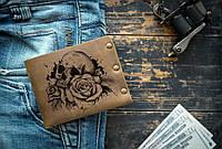 Кошелек кожаный мужской ТатуНаКоже, череп розы ,мужское кожаное портмоне