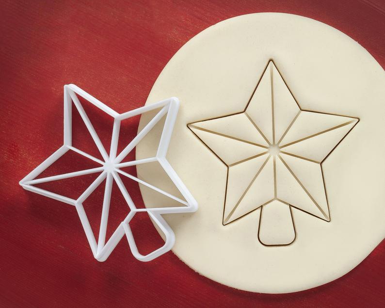 Новогодняя 3D формочка звезда верхушка елки | Новогодняя вырубка | Вырубка для печенья новогодняя