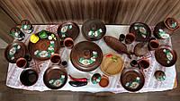 """Набор глиняной посуды на 6 персон Ромашка №13 """"Для пиццы, первых и вторых блюд"""", фото 1"""