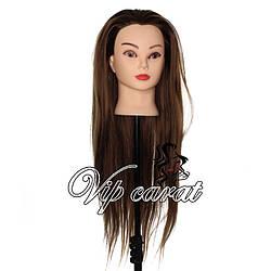 Учебная голова для причесок с волосами / манекен для парикмахера шатенка