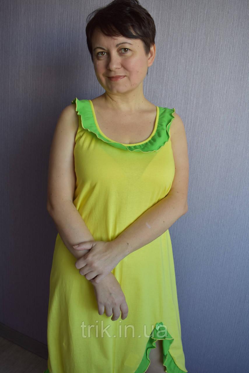 Сарафан ночнушка Анжелика лимонная с зеленым воланом