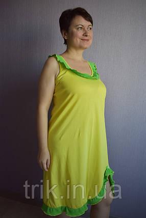 Сарафан ночнушка Анжелика лимонная с зеленым воланом, фото 2