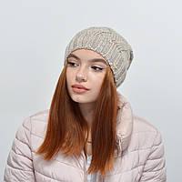 Женская шапка Nord на флисе 16112  лен