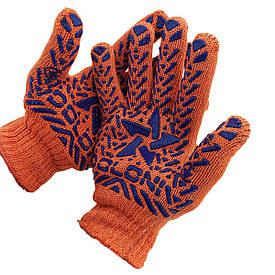 Перчатки рабочие Doloni 584, с ПВХ рисунком, оранжевые, размер 10
