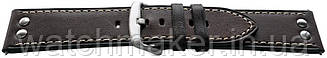 Темно-коричневый кожаный гладкий ремешок с металлическими заклепками 24мм (22мм)