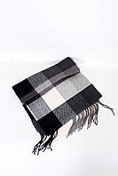 Мужские шарфы FAMO Мужской шарф Лестер черный+белый 180*30 (MS-02)