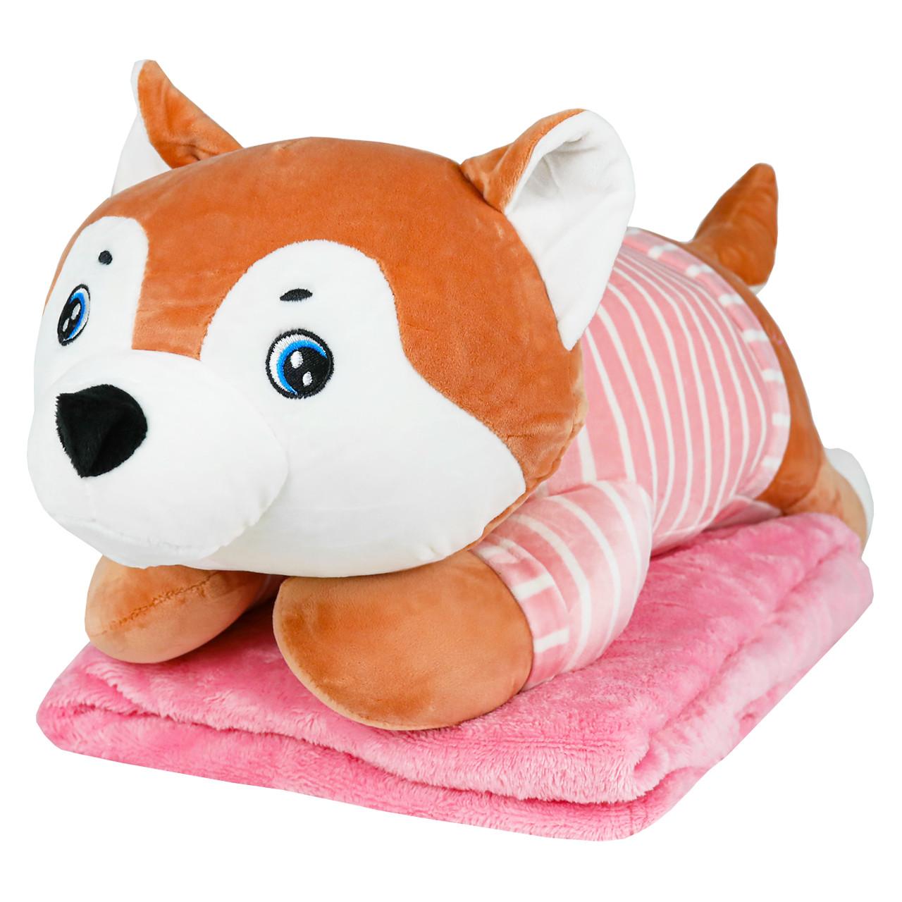 Подушка в авто игрушка плед, декоративная автомобильная подушка-плед Хаски