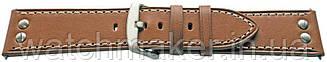 Желто-коричневый кожаный гладкий ремешок с металлическими заклепками 24мм (22мм)