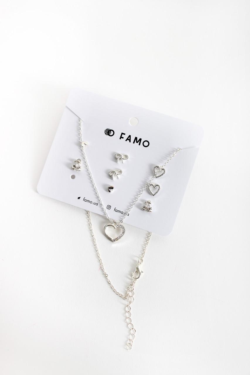 Набор сережек FAMO + цепочка Бикен серебряный Длина 1/1/0.5/1 - цеп. 58(см)/ Ширина 1/1/0.5/1 - цеп. 1.5(см)