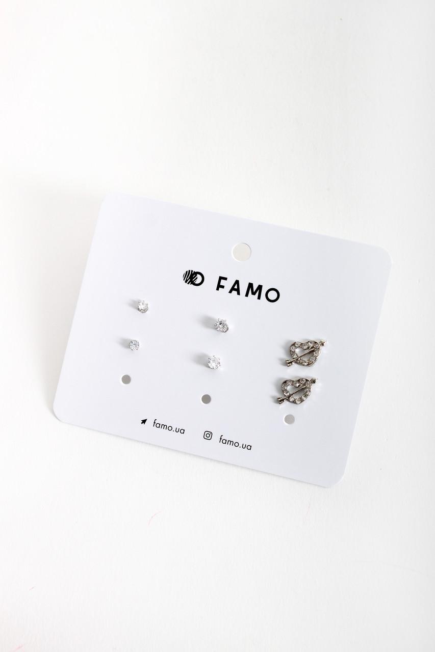 Набор сережек FAMO Англад разноцветный Длина 0.3/0.5/1.2(см)/ Ширина 0.3/0.5/1.2(см) (X107-7)
