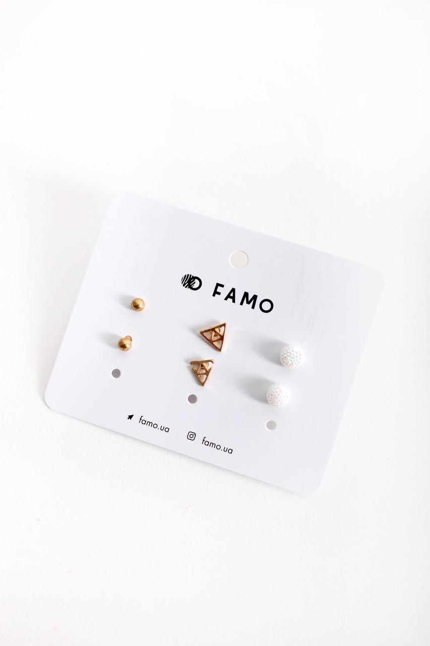 Набор сережек FAMO Ауроре разноцветный Длина 0.5/0.8/0.8(см)/ Ширина 0.5/0.8/0.8(см) (X110-1-1)