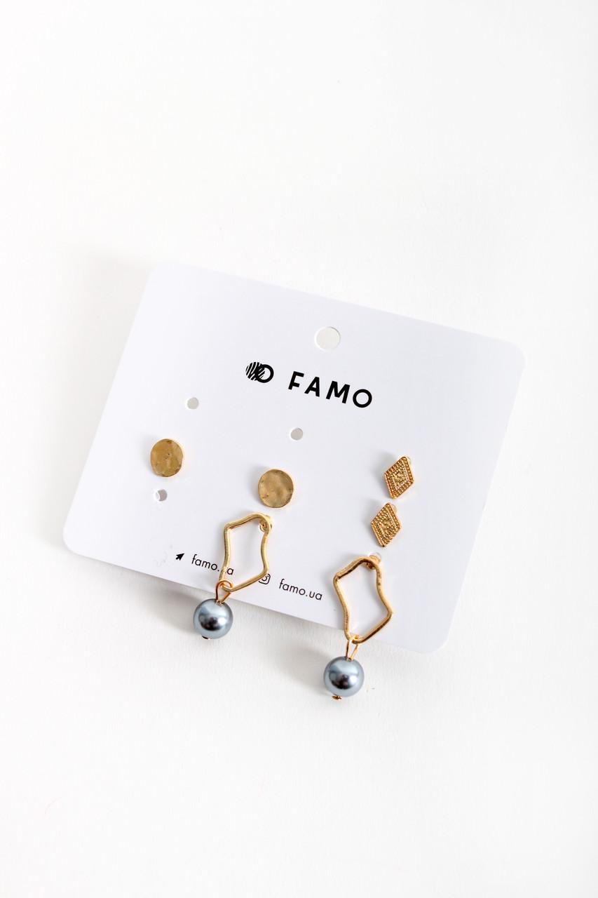 Набор сережек FAMO Беренис золотой Длина 1/1/3.2(см)/ Ширина 1/0.7/1.5(см) (X109-1)
