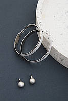 Набор сережек FAMO Бритни серебряный Длина 1/6(см)/ Ширина 1/0.9(см) (Ser-790)