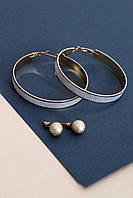 Набор сережек FAMO Бьюла серебряный Длина 1/6(см)/ Ширина 01/0.9(см) (Ser-791)