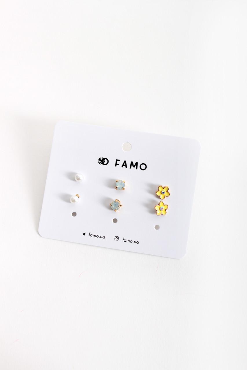 Набор сережек FAMO Гольшите разноцветный Длина 0.6/0.6/1(см)/ Ширина 0.6/0.6/1(см) (X110-3-4)
