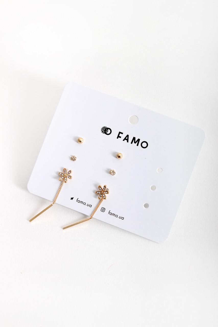 Набор сережек FAMO Зенту золотой Длина 0.4/0.3/4.5(см)/ Ширина 0.4/0.3/1(см) (X137)