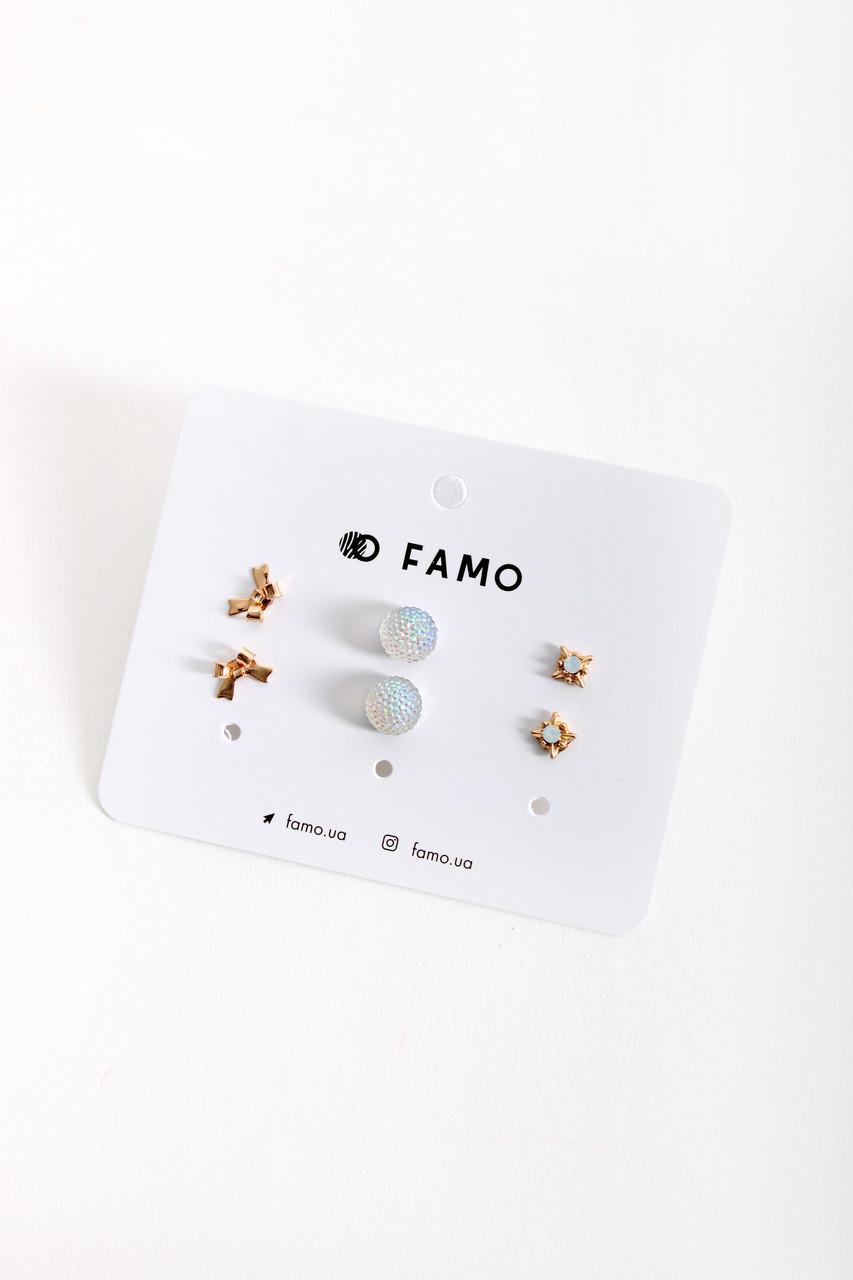 Набор сережек FAMO Косенс разноцветный Длина 1/1/0.5(см)/ Ширина 1/1/0.5(см) (X110-1-4)