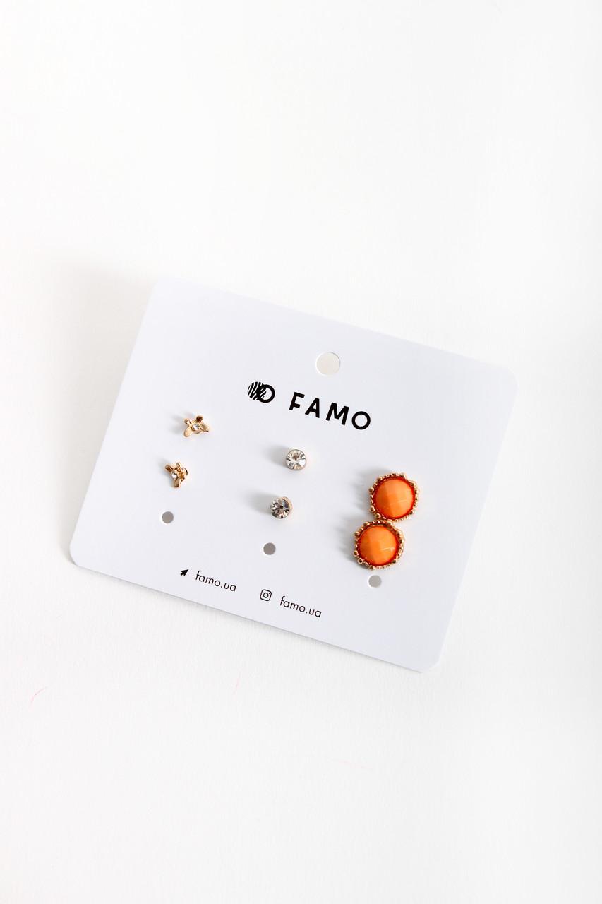 Набор сережек FAMO Коэнди разноцветный Длина 0.6/0.5/1.2(см)/ Ширина 0.6/0.5/1.2(см) (X110-1-6)