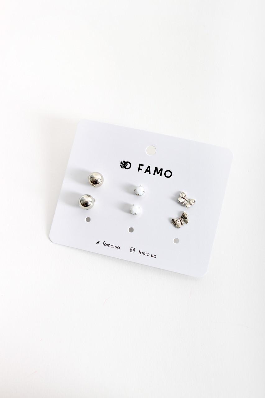 Набор сережек FAMO Луделаж разноцветный Длина 1/0.7/0.7(см)/ Ширина1/0.7/1(см) (X111-2-3)