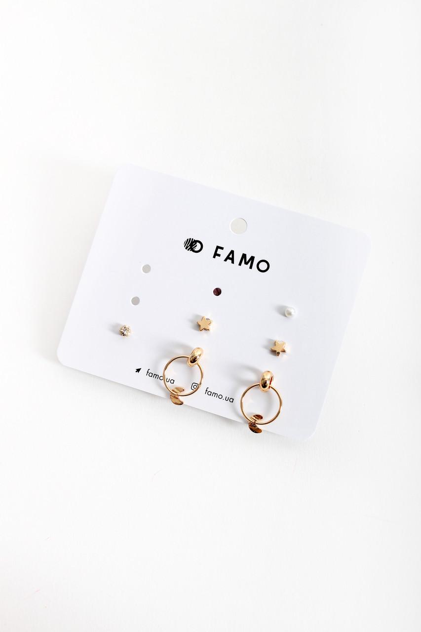 Набор сережек FAMO Люсила золотой Длина 0.4/0.5/2.2(см)/ Ширина 0.4/0.5/1.5(см) (X138-15)