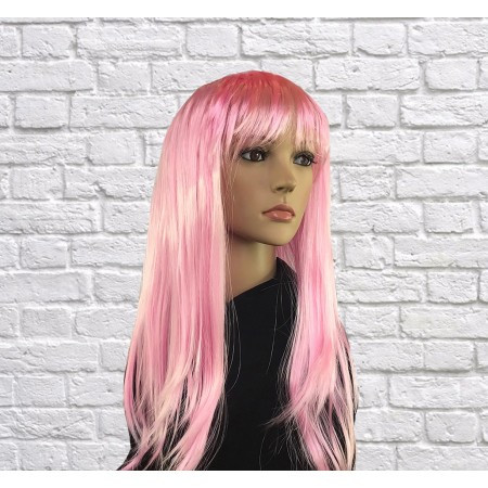 Парик  длинный светло-розовый прямой с челкой 62 см