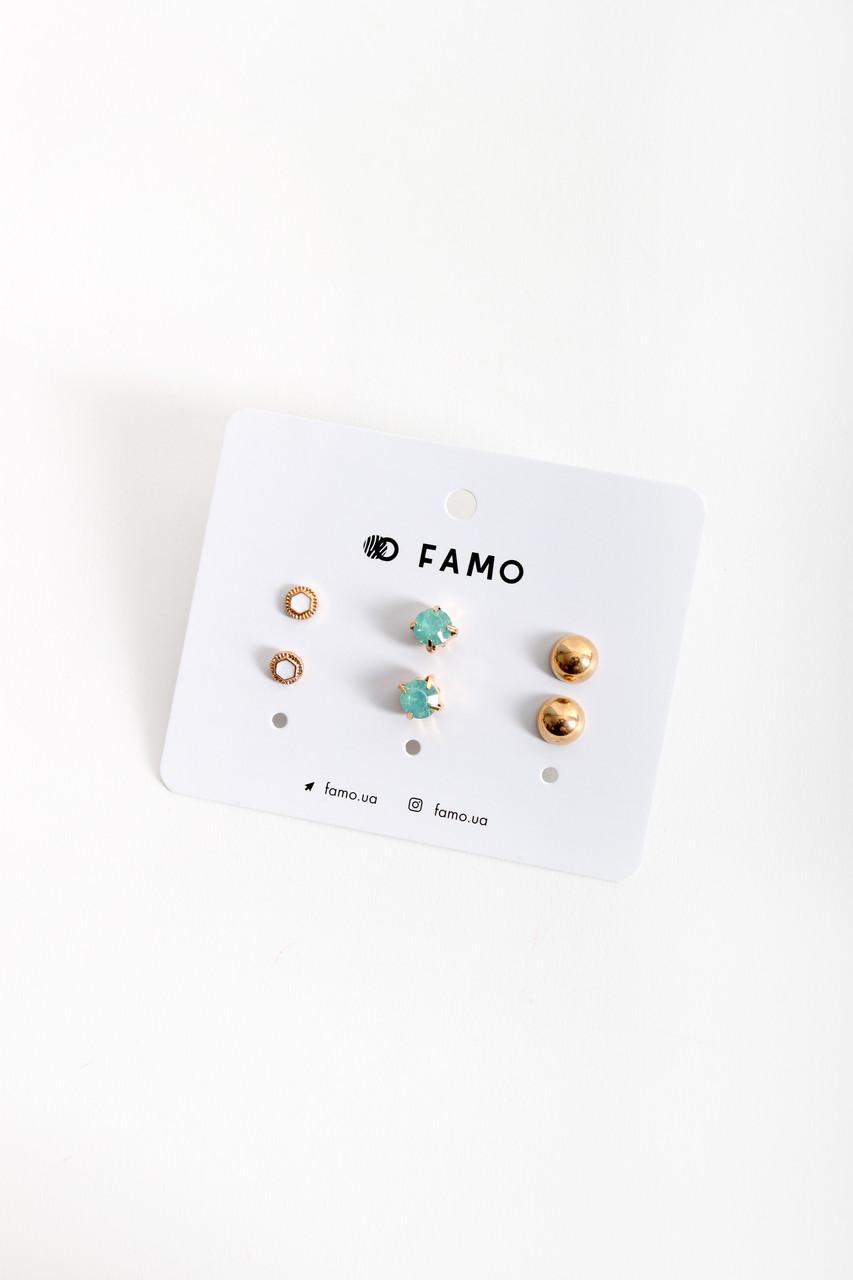 Набор сережек FAMO Мауд разноцветный Длина 0.7/1/1(см)/ Ширина 0.7/1/1(см) (X110-3-8)