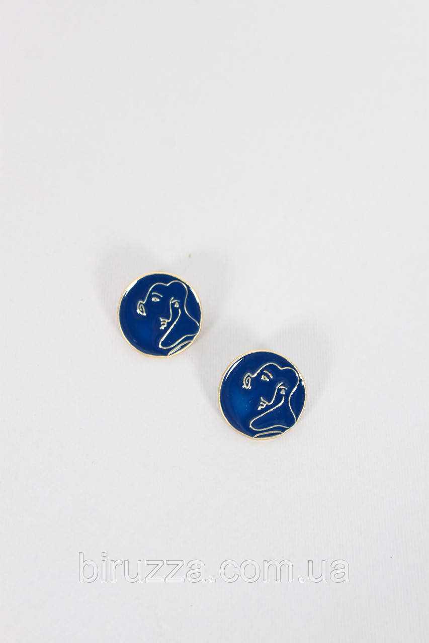 Пусеты FAMO Серьги Фима синие Длина 2.3(см)/ Ширина 2.3(см) (29-30)