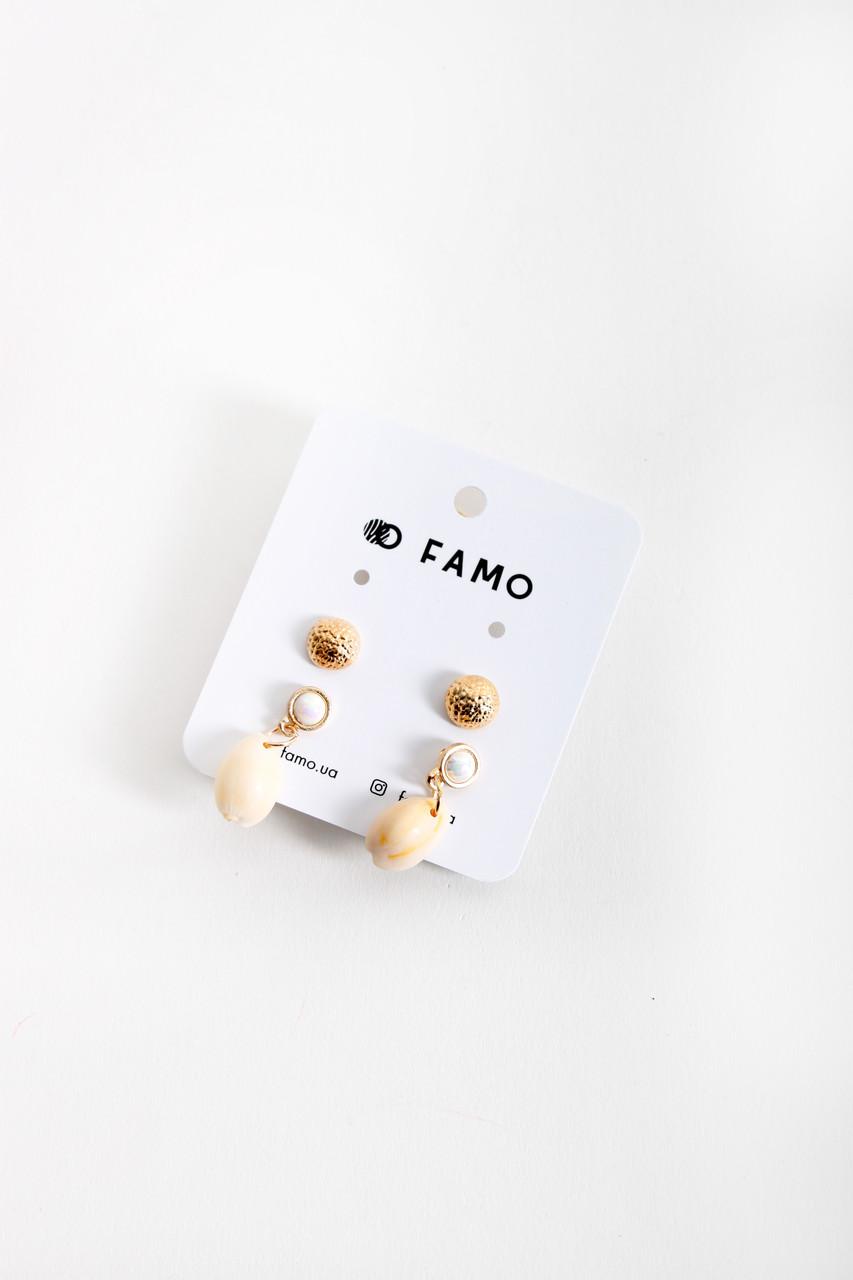 Набор сережек FAMO Ренеа золотой Длина 1.1/5(см)/ Ширина 1.1/2(см) (X106-3)