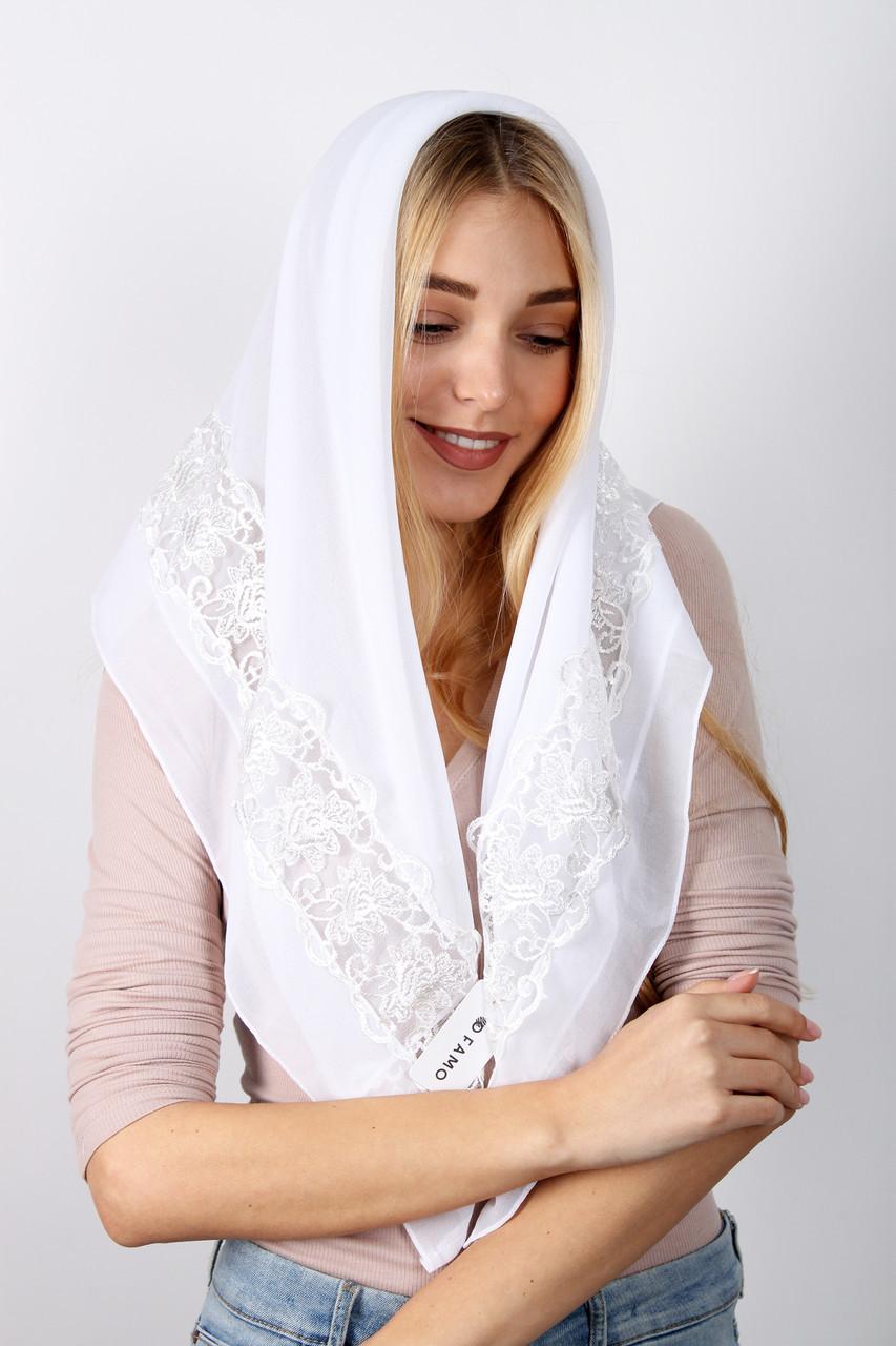 Торжественный шарф FAMO Платок Алин белый 90*90 (PVC-1912)