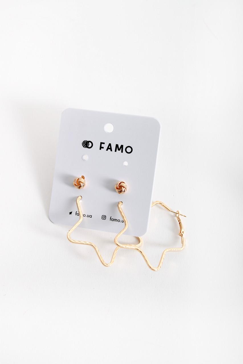 Набор сережек FAMO Селин золотой Длина 0.7/5(см)/ Ширина 0.7/5(см) (X126-1)