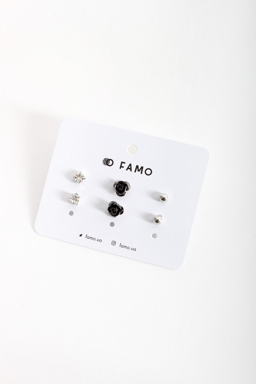 Набор сережек FAMO Терес разноцветный Длина 0.6/1/0.5(см)/ Ширина 0.6/1/0.5(см) (X110-2-9)