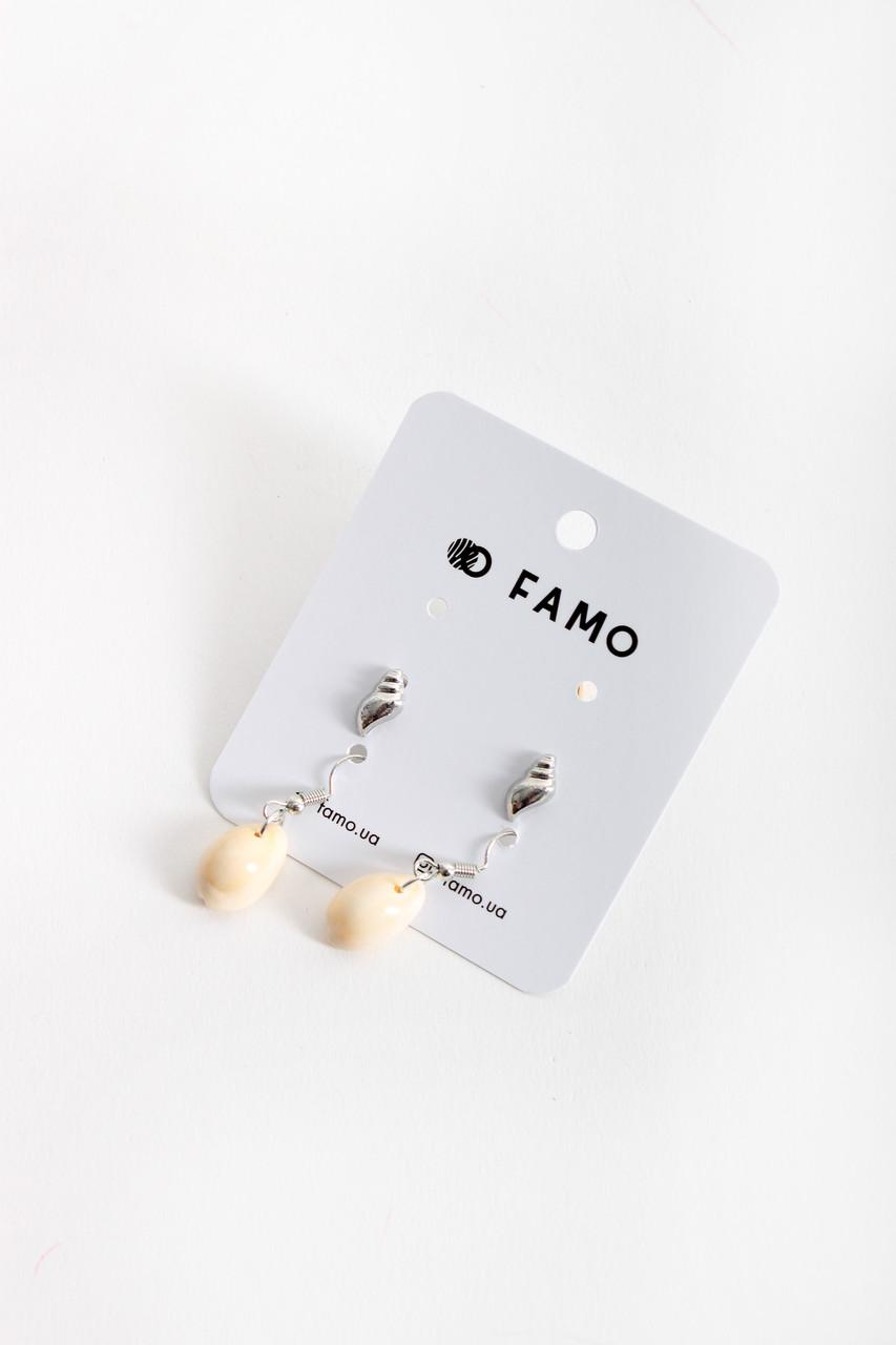 Набор сережек FAMO Тунк серебряный Длина 1.1/3.5(см)/ Ширина 0.5/1.2(см) (X128-3)