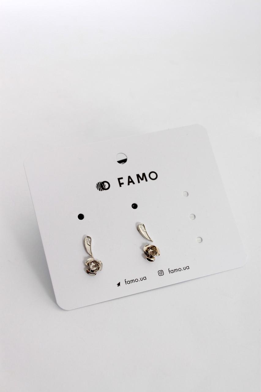 Набор сережек FAMO Фиар серебряный Длина 1/0.8(см)/ Ширина 0.4/0.8(см) (N-4)