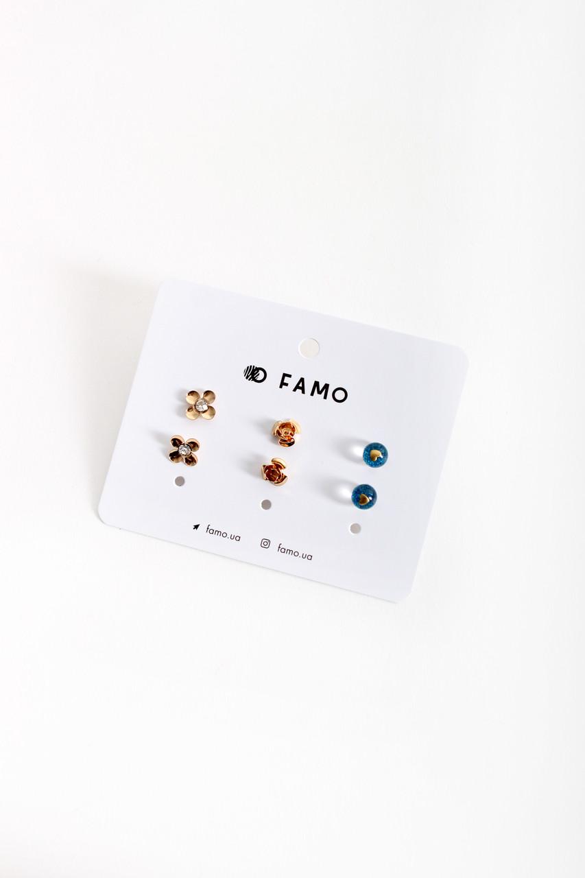 Набор сережек FAMO Хугит разноцветный Длина 1/0.8/0.8(см)/ Ширина 1/0.8/0.8(см) (X110-3-1)