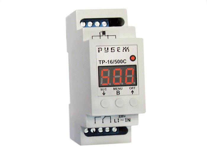Терморегулятор для высоких температур цифровой на DIN-рейку РУБЕЖ ТР-16/500С  (16А, 220В, термопара до 500°C)