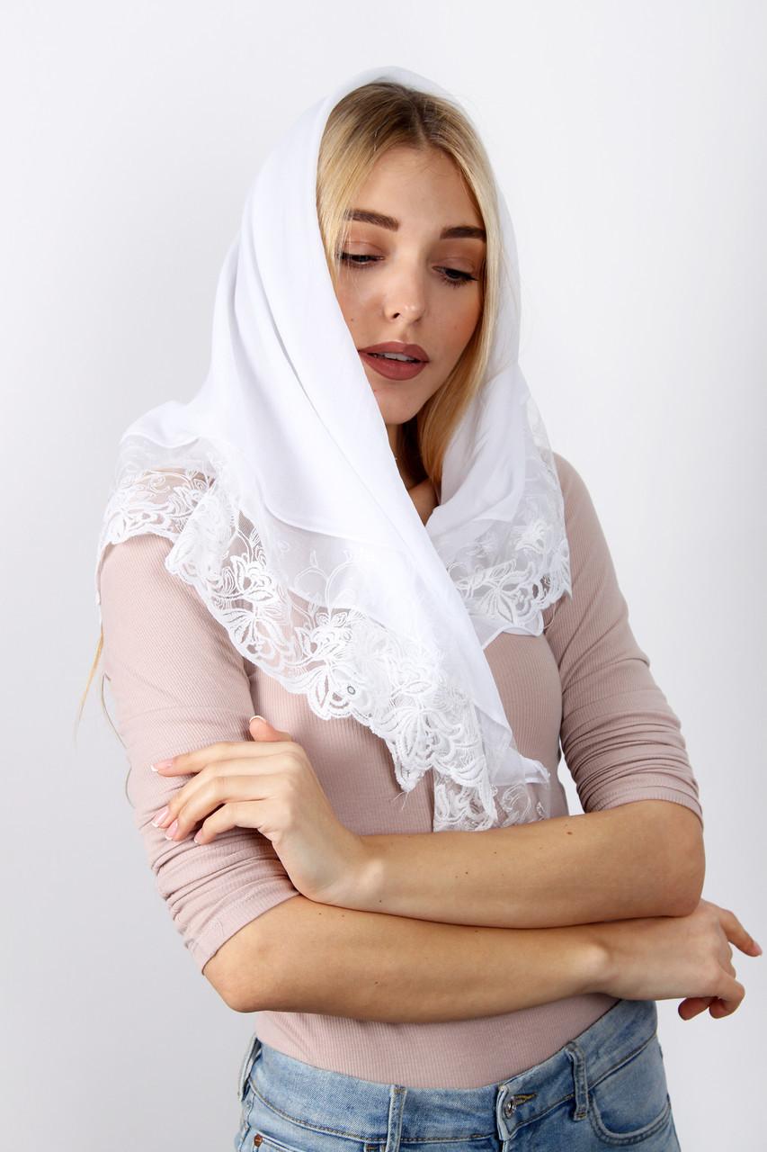 Торжественный шарф FAMO Платок Карри белый 90*90 (PVC-1914)