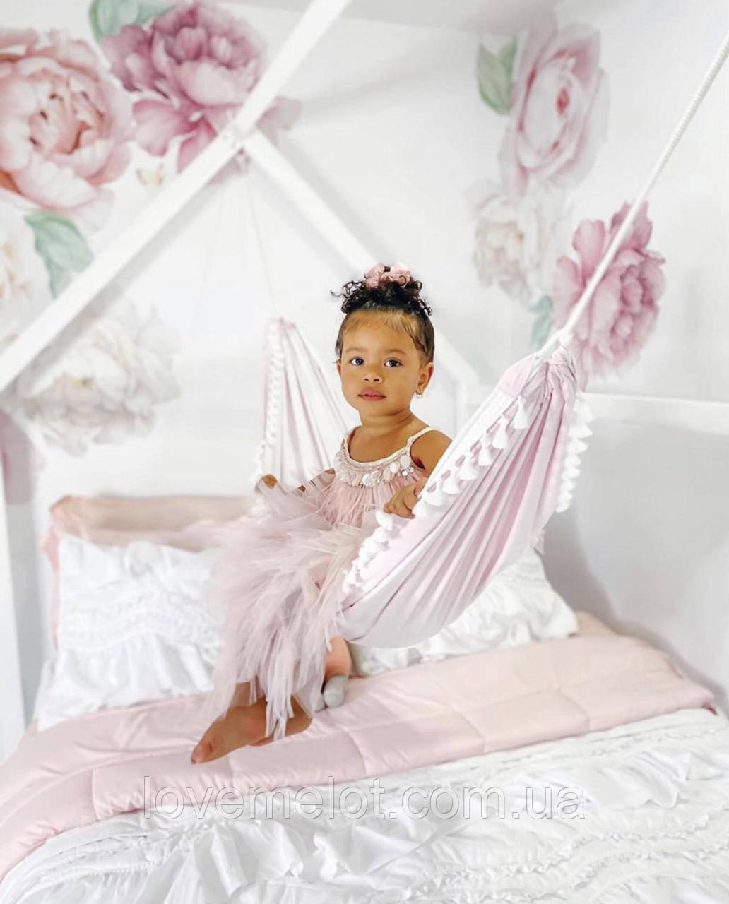 Детский гамак тканевый с кистями, размер 80*120см на 1-3 года, качель подвесная детская тканевая, бохо стиль