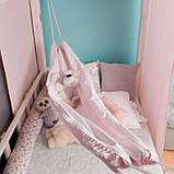 Детский гамак тканевый с кистями, размер 80*120см на 1-3 года, качель подвесная детская тканевая, бохо стиль, фото 3