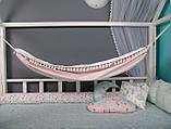 Детский гамак тканевый с кистями, размер 80*120см на 1-3 года, качель подвесная детская тканевая, бохо стиль, фото 4