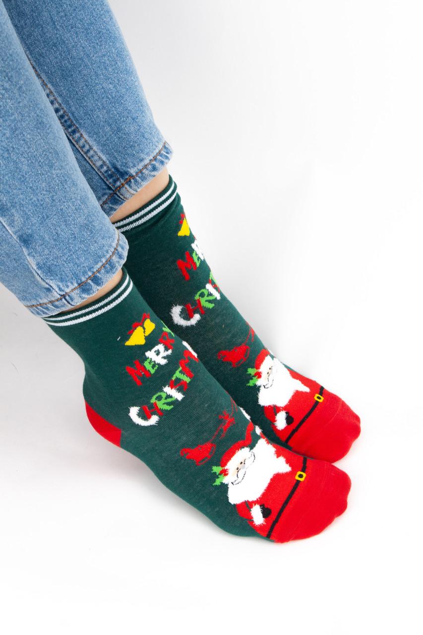 Женские новогодние и рождественские носочки Дедом Морозом